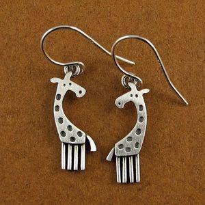 Jewelry - LikeNew Sterling Silver Giraffe Dangle Earrings 🦒